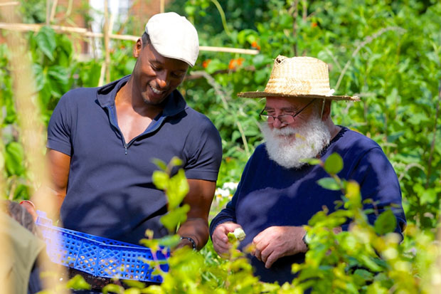 Two men gardening at Sydenham Garden for mental health and wellbeing