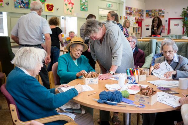 Indoor arts activities at Bromley MindCare Dementia Day Centre