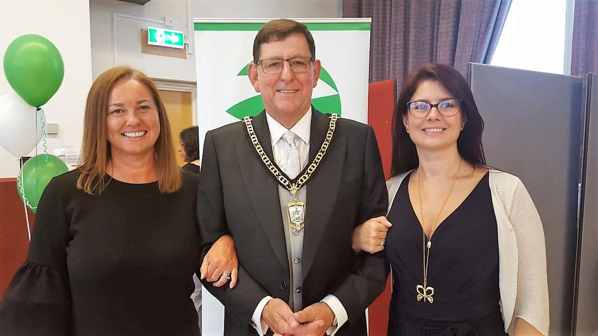 Susannah Matthews receives award with Nicola White and Deputy Mayor of Bromley