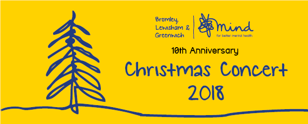 Christmas Concert 2018 Graphic with christmas tree and BLG Mind logo