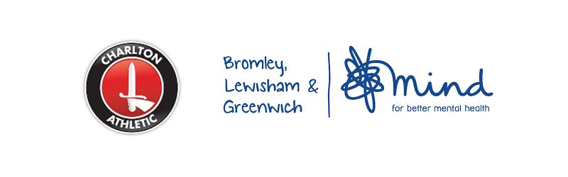 Charlton Athletic and Bromley, Lewisham & Greenwich Mind logos