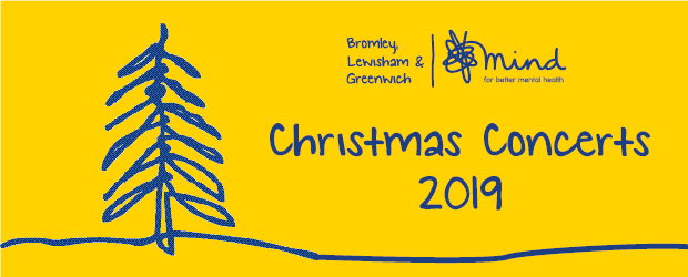 Christmas Concert 2019 graphic with BLG Mind logo and Christmas tree