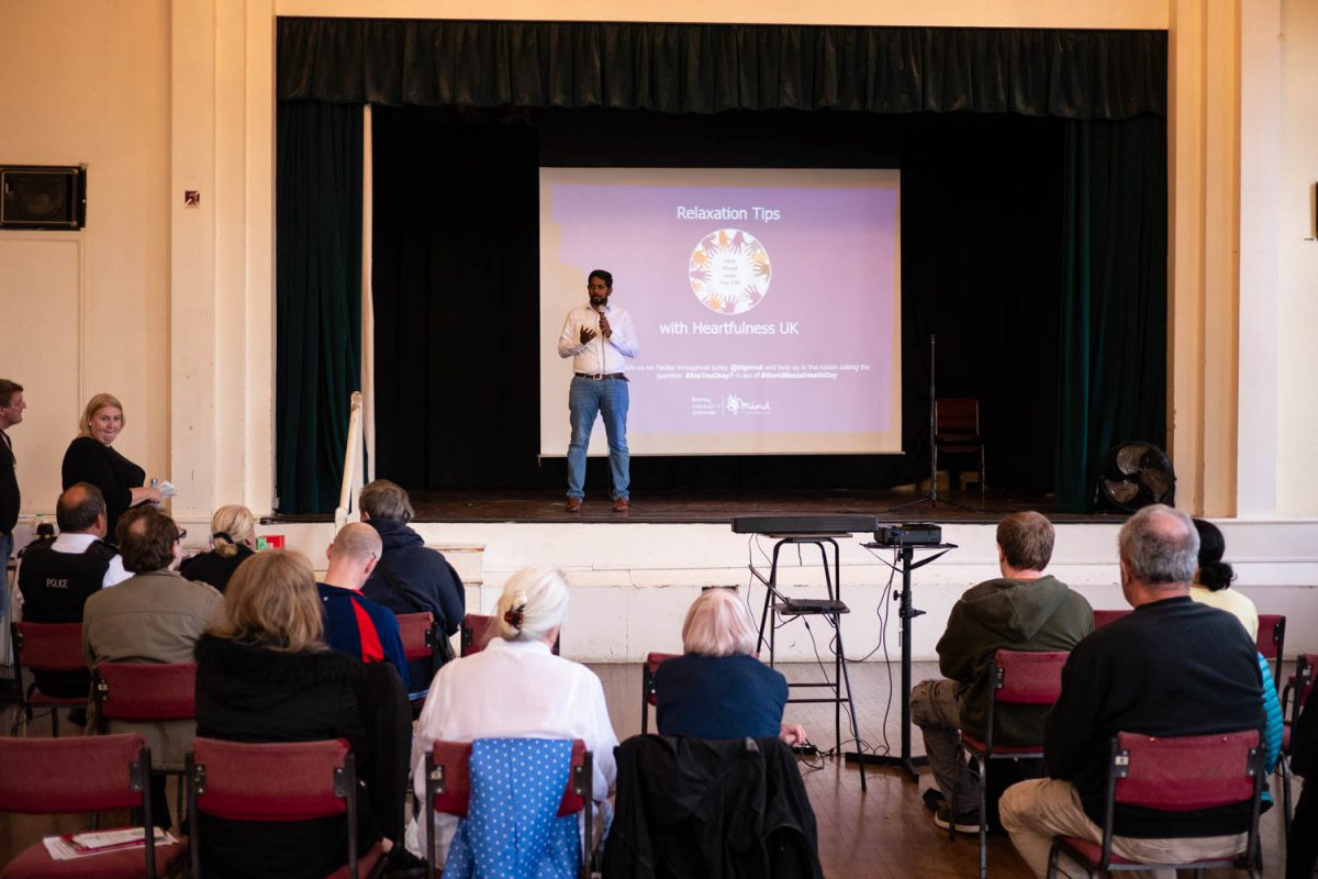 Heartfulness UK talking at Bromley World Mental Health Day 2019 event