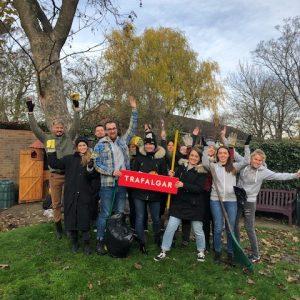 Trafalgar Marketing Team gathered in the Beckenham MindCare garden
