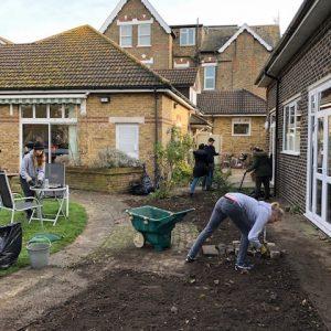 Trafalgar Marketing volunteers working in the Beckenham MindCare garden