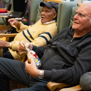 People with dementia happy receiving Christmas gifts