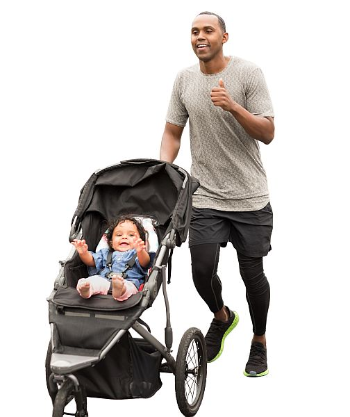 Man running with a baby in a pushchair