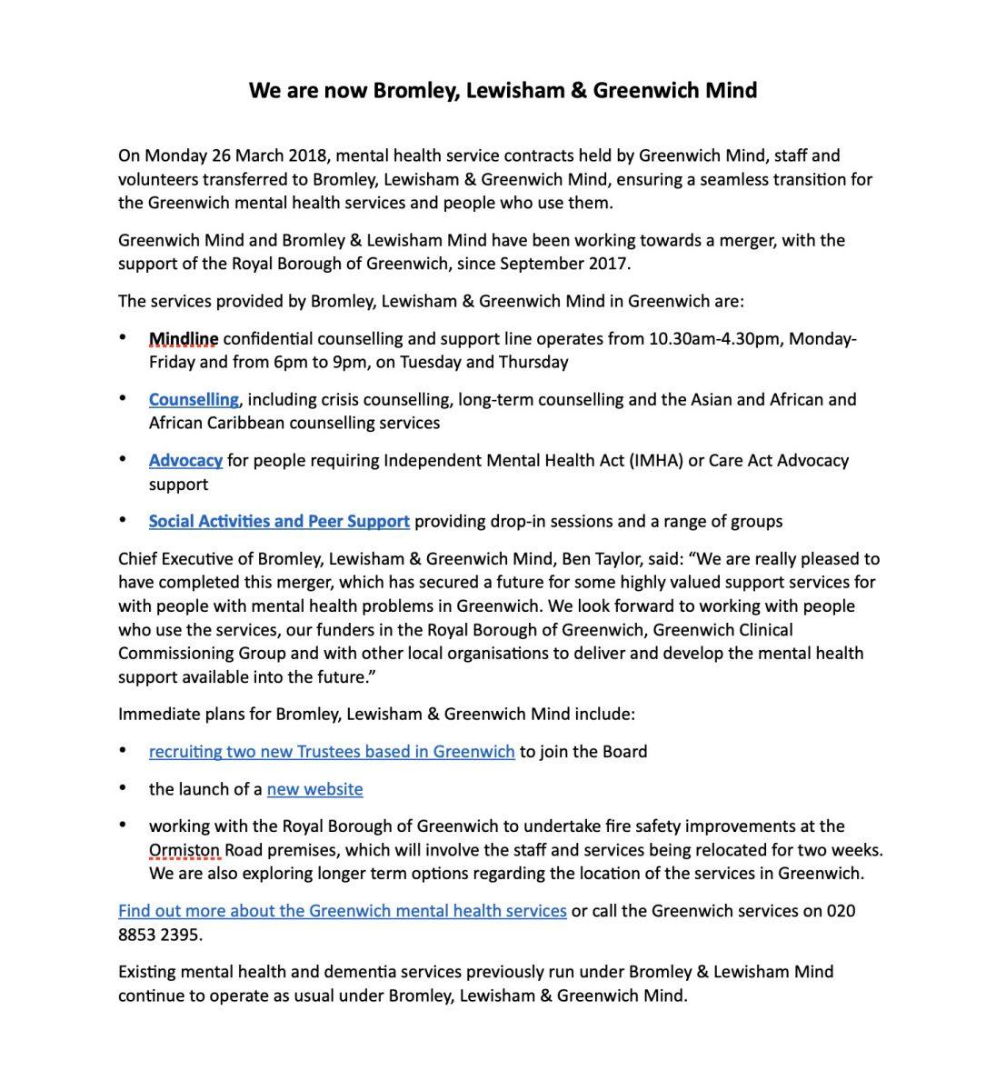 Comunicado de imprensa da formação da mente BLG