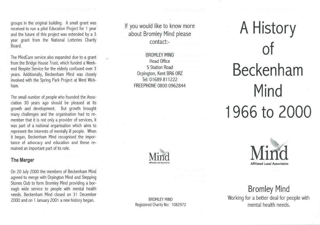 A History of Beckenham Mind 1966-2000
