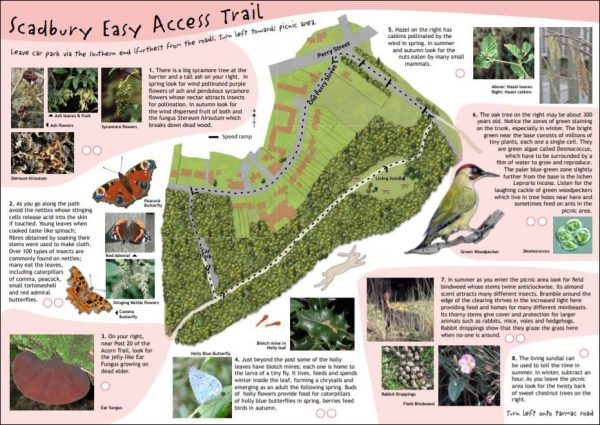 Map of easy access walk at Scadbury Nature Reserve, Bromley