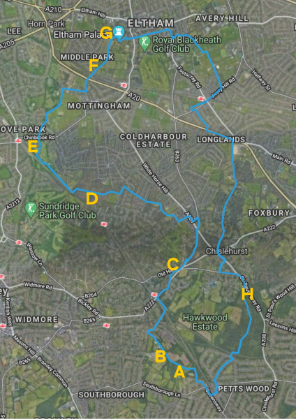 BLG Mind Three Boroughs Walk route showing highlights