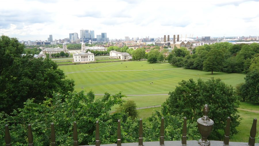 A view of the Royal Naval college and Canary Wharf from the Royal Observatory