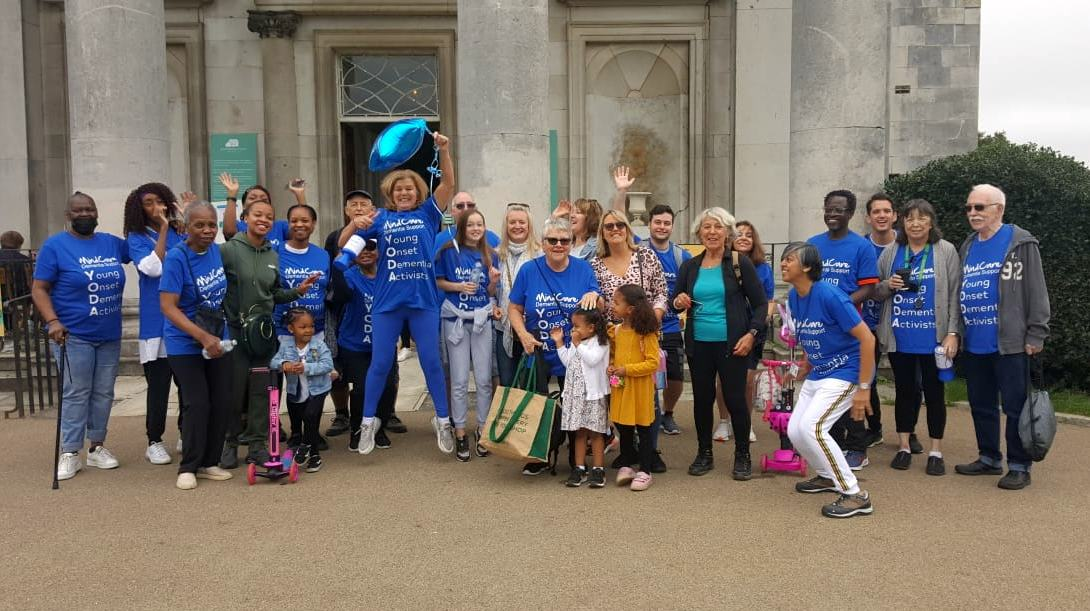 The Young Onset Dementia Group celebrate after completing their 5km sponsored walk
